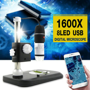 1600X 8LED USB Digital Microscope Endoscope Magnifier Camera +Stand Holder AU