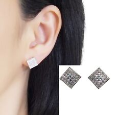 Swarovski Clip On Rhinestone Crystal Pave Silver Square Invisible Stud Earrings