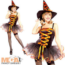 Sexy Orange Ballerina Witch Ladies Fancy Dress Halloween Adults Costume Outfit