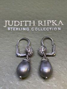 Judith Ripka Freshwater Pearl & Cubic Zirconia Dangle Earrings - Sterling 925