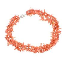 Charming Modern Twist Pink Coral Branches Necklace Choker 47cm