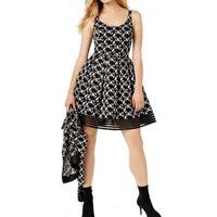SACHIN BABI NEW Women's Black Mesh Embroidered-lace Fit & Flare Dress TEDO