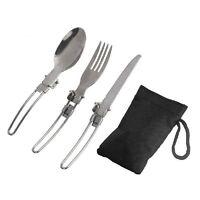 3in1 Outdoor BBQ Travel Camping Folding Knife Fork Spoon Utensils Pocket Set