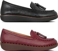 FitFlop PETRINA PATENT Ladies Womens Genuine Leather Slip On Tassel Loafers