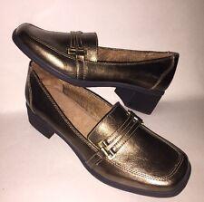 "NEW Womens Size 10 W Naturalizer ""Benatar"" Bronze Loafers Shoes Chunky 2"" Heel"