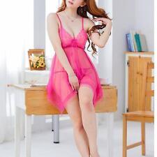 Sexy Lady Lingerie Lace Dress Babydoll Night Sleep Underwear + G-String Rose DI
