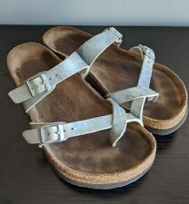 Birkenstock Mayari Sandals Shoes Toe Loop Metallic Silver Womens 37 US 6-6.5