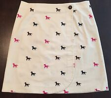 LILLY PULITZER Wrap Skirt Size 4 Cream Pink Well Bred Horse Corduroy Embroidered