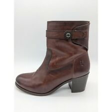 Frye Malorie Button Leather Short Ankle Bootie Brown Women's Size 8