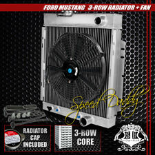 "FULL ALUMINUM 3-ROW RADIATOR+14"" BLACK COOLING FANS 64-66 FORD MUSTANG V8 I6 MT"