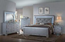 Crown Mark Lillian Luxury Silver Crocodile Skin Queen Bedroom QB/D/M/2NS