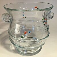"""AMICI ITALY VASE ART GLASS CONFETTI WITH APPLIED SPIRALS VINTAGE 6"""" VINTAGE"""