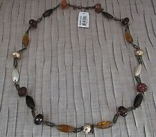 Cookie Lee Fashion Gold Silver Amber Color Beads Necklace Tag and Signature
