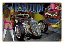 Muscle car HOT Rat Rod Bad ratitude PIN UP Comic Retrò SIGN IN LAMIERA SCUDO SCUDO