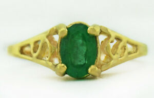 GENUINE 1.02 Cts EMERALD RING 10K YELLOW GOLD ** Free Certificate Appraisal **