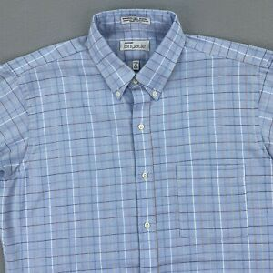 Vintage Arrow Brigade Button Shirt Mens 16 32/33 Blue Check Long Sleeve Fitted