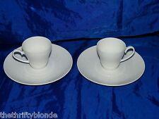 2 Rosenthal ROMANCE Demitasse Cup Saucer All White 15078