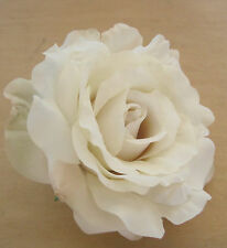 "Large 5"" Variegated Cream White Silk Rose Flower Hair Clip, Wedding, Prom,Bridal"