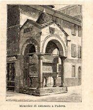 Stampa antica PADOVA piccola veduta della tomba di Antenore 1896 Old Print