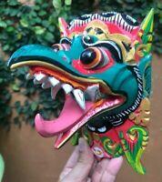 Art Garuda God Mask Bali Eagle Hand Carved Wood King Bird Decor Wall Tongue Head