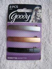 3 Goody Plastic Hair Barrettes Metal Back Closure Silver Bronze Black 2013