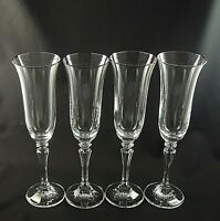 "PAGEANT by Schott Zwiesel Crystal CHAMPAGNE FLUTES Platinum Trim  9""  - Set of 4"