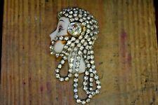 Vintage Lady Head Flapper Girl Brooch Pin 1920's Style Rhinestone