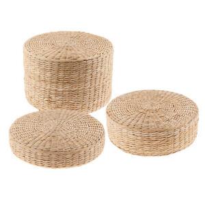 Tatami Floor Pillow Sitting Cushion,Round Padded Room Floor Straw Mat for
