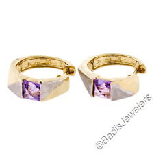 Petite 14K Two Tone Gold Square Pyramid Amethyst Brushed Huggie Hoop Earrings