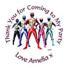 Personalised Power Rangers 37mm Birthday Stickers Party Thank You Seals - L1292