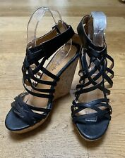 BLACK STRAPPY CORK WEDGES EU 38 UK 5 SHOES NEW SUMMER HOLIDAY TOWIE SANDALS BOHO