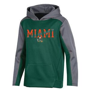 MIAMI HURRICANES Green/Silver NCAA HOODIE SWEATSHIRT YOUTH BOYS S SMALL 6/7 *NEW