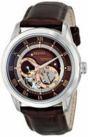 Bulova Men's  Automatic Open Heart Window Brown Leather Strap 42mm Watch 96A120