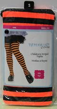 CHILD ORANGE & BLACK STRIPED TIGHTS Girls Small (4-6) Costume Witch Hose NEW