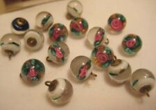 18 Diminutive Antique Glass Paperweight Sewing Buttons Rose & Gold Aventurine