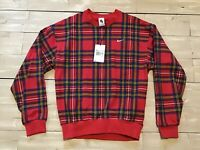 Men's Nike Striped Plaid Crew Sweatshirt CD6378-657 University Red. Size XS