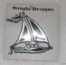 David Wright Designs Handcrafted Metal Sailboat Pin / Brooch Jewelry