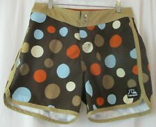 "Summer! Quiksilver Swim Trunks Men's Size 32 Brown With Polka Dots 5.25"" Inseam"