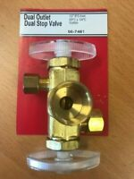"Dual Stop Valve 1/2"" IPS Inlet 3/8"" C x 1/4"" C, LASCO 06-7451 Brass Dual Outlet"