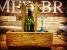 Rustic handmade wine bottle and glass caddy