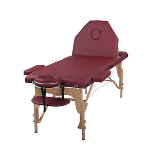 The Best Massage Table 3 Fold Burgundy Reiki Portable Massage Table - PU Leather