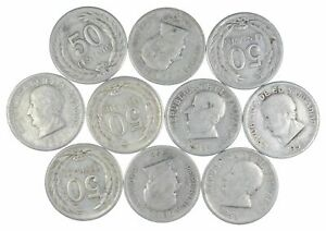 Lot of 10 El Salvador 1953 50 Centavos Silver Coin Lot Rare one Year Issue *452