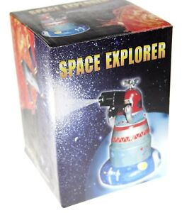 SPACE EXPLORER TIN TOY CLOCKWORK WIND-UP  COLLECTABLE SPARKS WITH MYSTERY ACTION