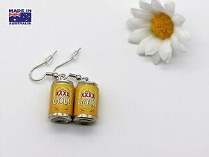Miniature 3D Australian XXXX Beer Style Can Tinny Drop Earrings Dress Accessory