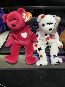 Beanie Baby Lot Of 3 Valentina Glory And Teddy Style 4050