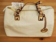 NEW Michael Kors White Grayson Large Satchel Handbag Monogram Patent Leather