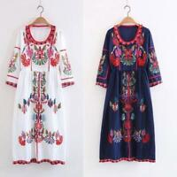 New Retro Womens Hippie Ethnic Embroidery Mexican Boho Maxi Tunic Festival Dress