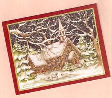 Sheep Lamb Stone Church Snow Glittery Christmas Cards Box of 18 by Lang