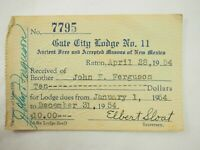 Ancient Free and Accepted Masons of New Mexico Membership & Fee Card 1954