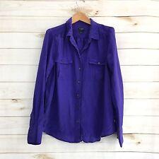 J.Crew L 100% Silk Purple Long Sleeve Blouse Women's Large W93